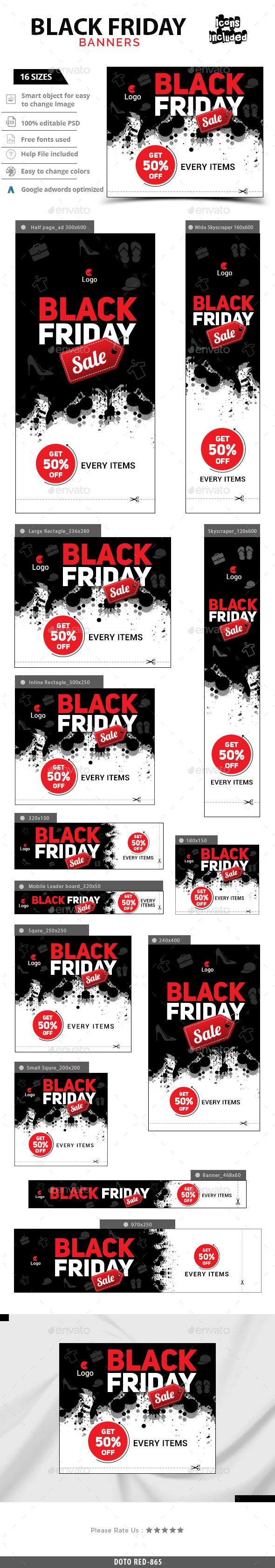 Black Friday Web Banners Template PSD #design #ads Download: http://graphicriver.net/item/black-friday-banners/13737601?ref=ksioks