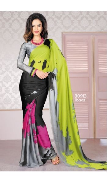 Look attractive in this Black,Green Satin saree, unique pattern and eye catching Digital Print Saree that will give a mesmerize look to the wearer. This ravishing saree comes with matching unstitched blouse piece that can be custom stitched for upto bust size of 42 inches.