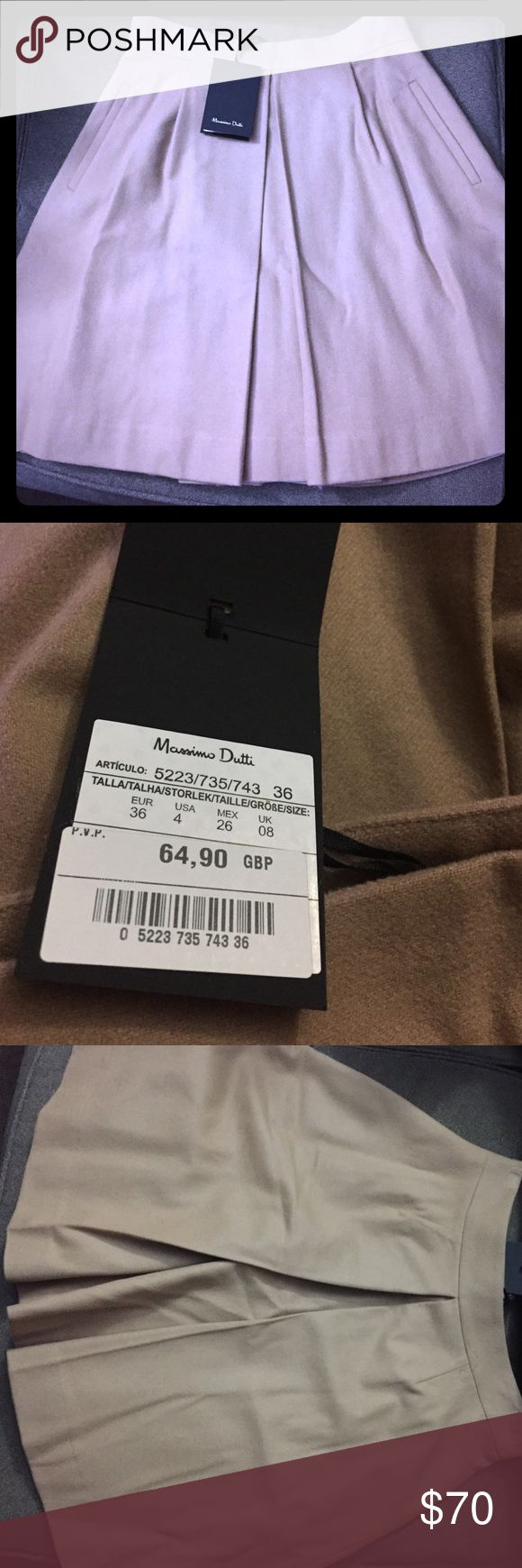 Massimo Dutti Fully line Pleated Skirt New with tags.. fully line Tan/light brown skirt with pockets, zipper on the side...wool Massimo Dutti Skirts A-Line or Full