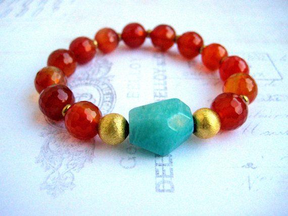 Carnelian and Amazonite Stretch Bracelet  by BeadBashStudio