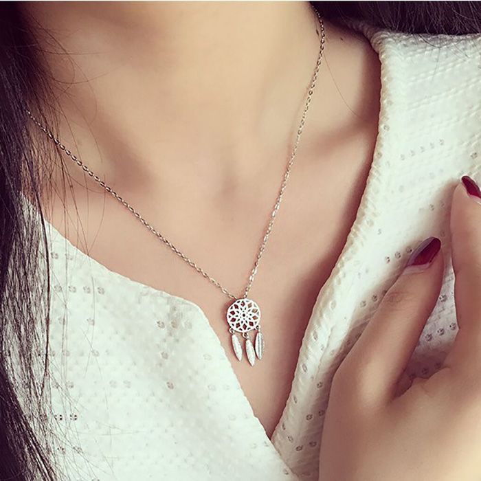 Dreamcatcher Shaped 925 Silver Pendant Necklace for Women's Fashion