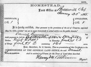 The Homestead Act of 1862. The Homestead Act of 1862 not only helped populate a major portion of the current United States during the 19th and 20th centuries, but it left behind a vibrant record set for genealogy research. #genealogy #webinars