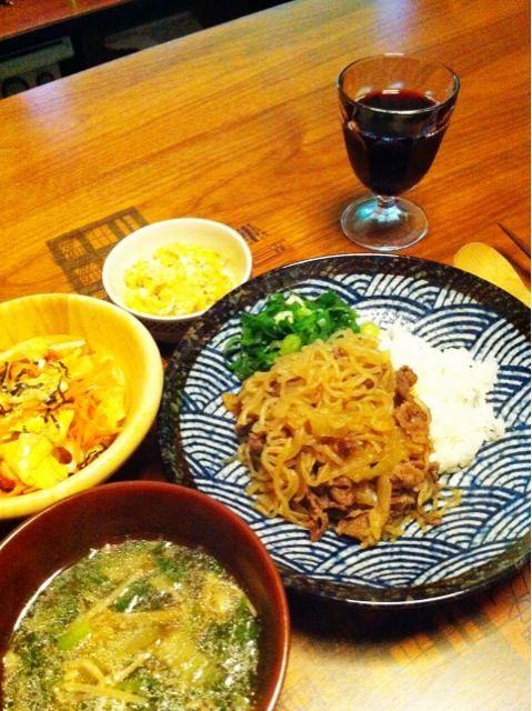 ワインと♡ - 2件のもぐもぐ - 牛丼、もつ鍋残りスープ、和風サラダ、ツナポテトサラダ by chirarhythm