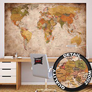 Amazing  Globus Kontinente Atlas Weltkarte retro old school vintage map Weltkugel Geografie I Foto Tapete Wandtapete Fotoposter Wanddeko by GREAT ART x cm