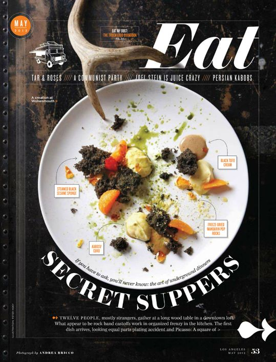 (Eat magazine) I like this design because it showcases a contrast of colors; the black of the background, the white of the plate (also brought out by the white of the text) and the multi-colored food. This is an eye-catcher, which is exactly what it wants to be. The photo shows the intent of the magazine in a sophisticated manner; this shows that anything can be designed well, even food.