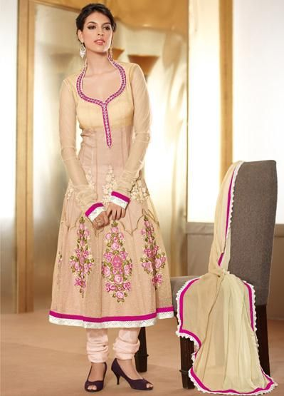 USD 105.53 Cream Net Resham Work Designer Anarkali Salwar Suit 28933