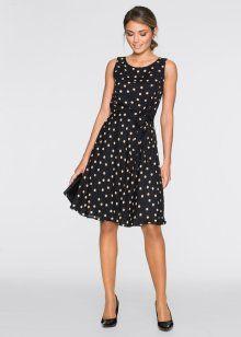 Платье, BODYFLIRT, черный/капучино в горошек