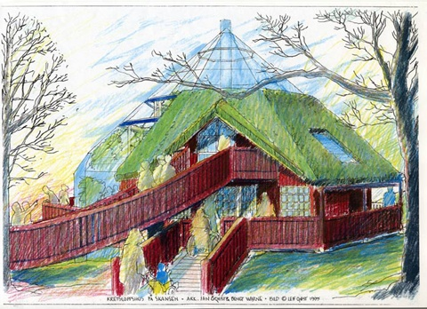 Ecocyclic Home, designed for Skansen, Stockholm. Sketch by Leif Qvist.