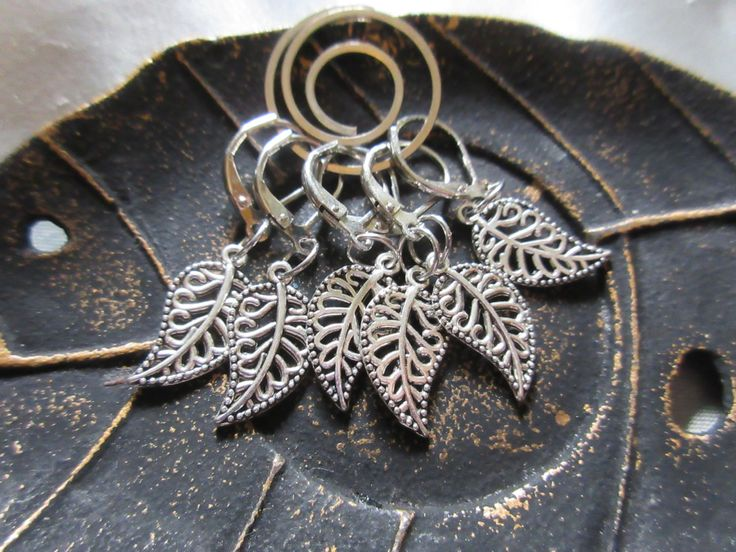 Lace Metal Leaf Crochet or Knit Stitch Markers, Progress Keepers, Removable and Locking Stitch markers by PixieBot on Etsy