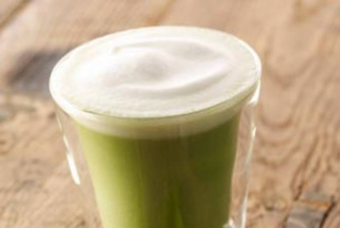 Tazo Green Tea Latte - make vegan by ordering in Nonfat & Soy!