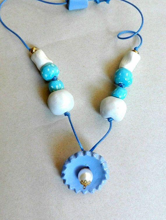 collana donna perle di ceramica fatte a mano colore azzurro