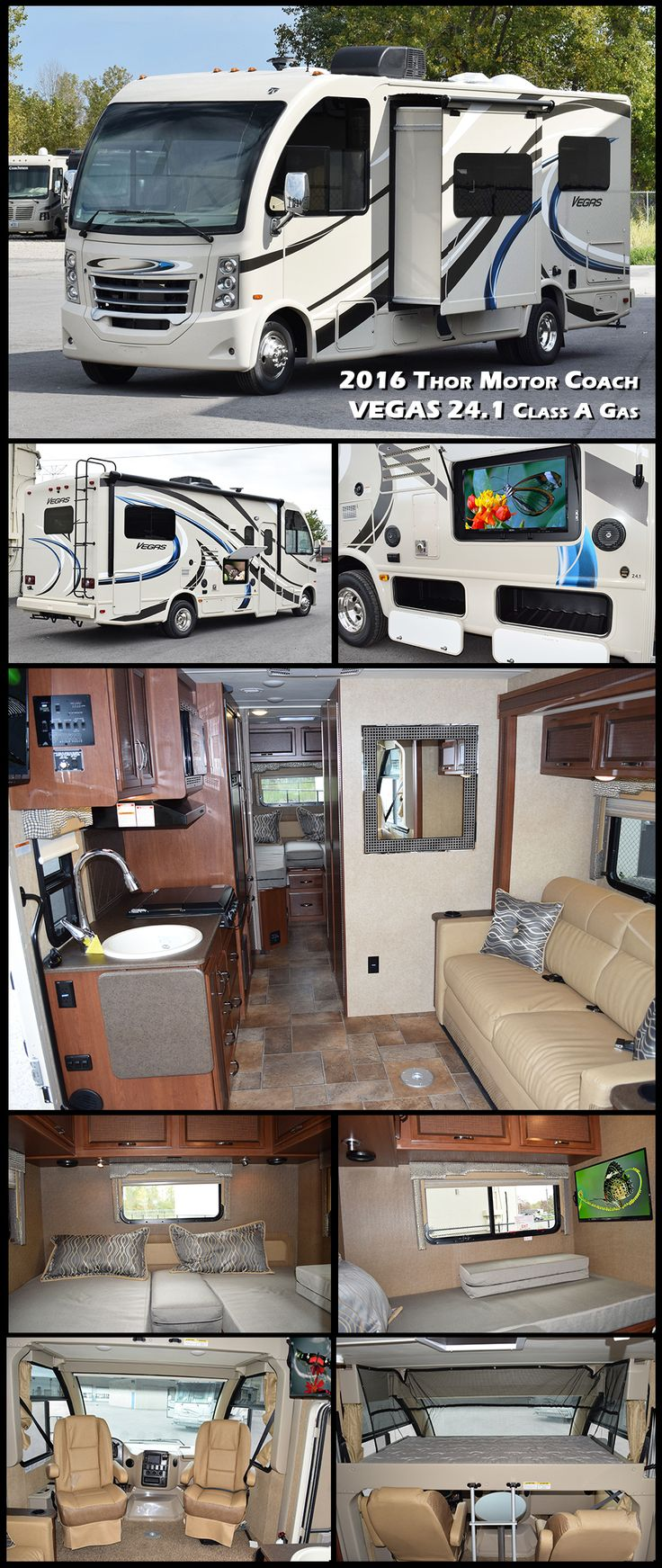 """Treat yourself with this 2016 THOR MOTOR COACH VEGAS 24.1 Class A Gas Motorhome. This is what Thor considers an RUV or """"Recreational Utility Vehicle"""" because it is intended to be used for everything from your mobile hotel room when your kids have an out of town sports game, to your home-away-from-home on a cross country road trip!"""