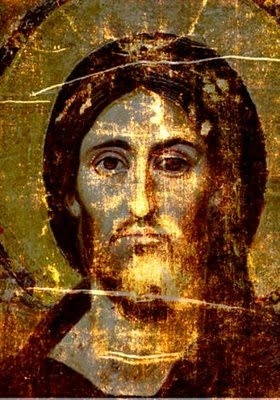 this is rather striking-- The shroud of Turin overlaid on the Sinai Pantocrator icon.