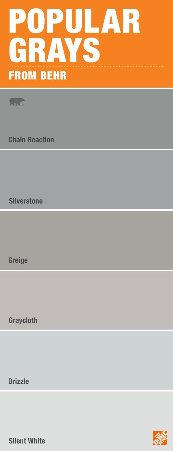 Don't be overwhelmed by paint color choices. Here are some of the most popular shades of gray from BEHR. See these paint colors at The Home Depot paint desk.