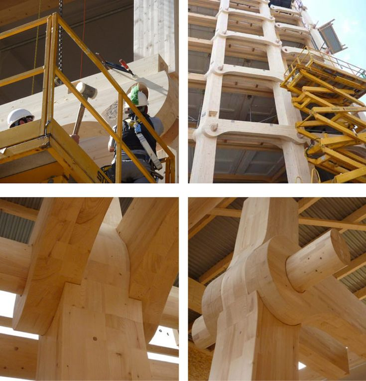 'tamedia building' by shigeru ban, zurich, switzerland Office building nearing completion. The main structure is held together without nails, screws or glue and instead relies on wooden joints tested by centuries of craftsmanship.