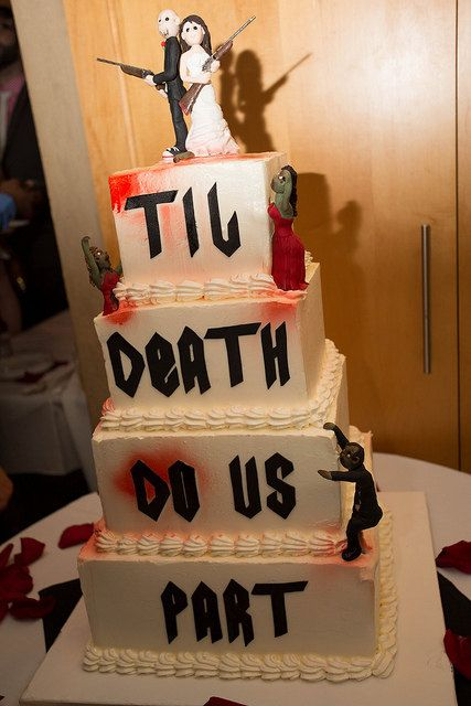 Hey, I found this really awesome Etsy listing at https://www.etsy.com/listing/154432950/zombie-themed-wedding-cake-topper