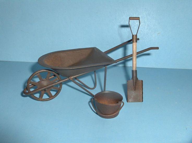 Gnome Garden: Miniature Wheelbarrow Shovel & Bucket/ Fairy Garden