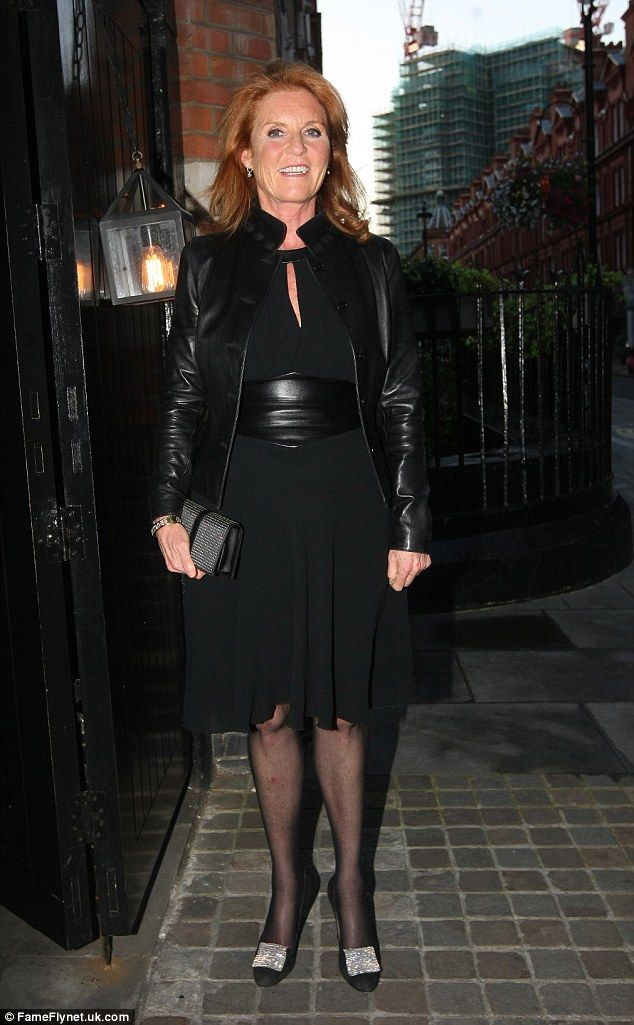 Glamorous: Sarah Ferguson stepped out alone on Friday at the Chiltern Firehouse, as she co...