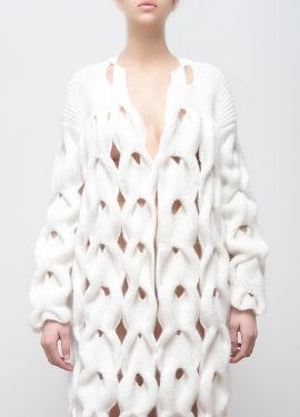 Contemporary Knitwear Design - long white cardigan with intricately knitted structure // Lalo