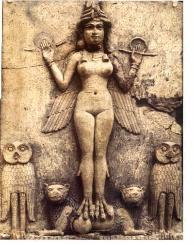 Burney relief. There is debate if this is Inanna, Lilith or Erishkigal. I personally think this is Inanna.