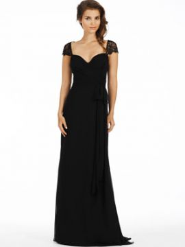 Noir luminescent A-line wrap bridesmaid gown, Black lace cap sleeve with keyhole back.
