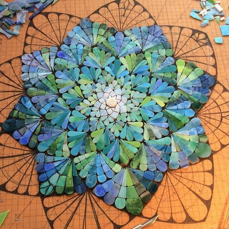 """""""Another layer down, Siobhan Allen Mosaics I love the design and the color choices. It's beautiful now even though it isn't yet finished!"""""""