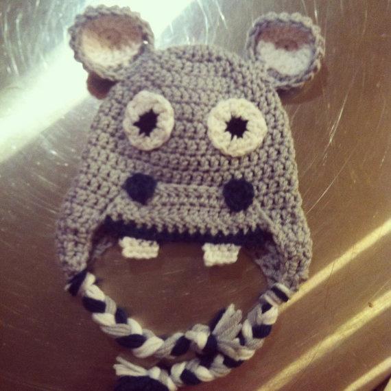 Newborn crochet boy happy hippo beanie by TheArtisticStargazer, $15.00