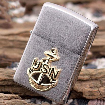 Zippo Chrome With U.S. Navy Emblem Lighter