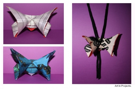 origami butterfly with vintage fabrics