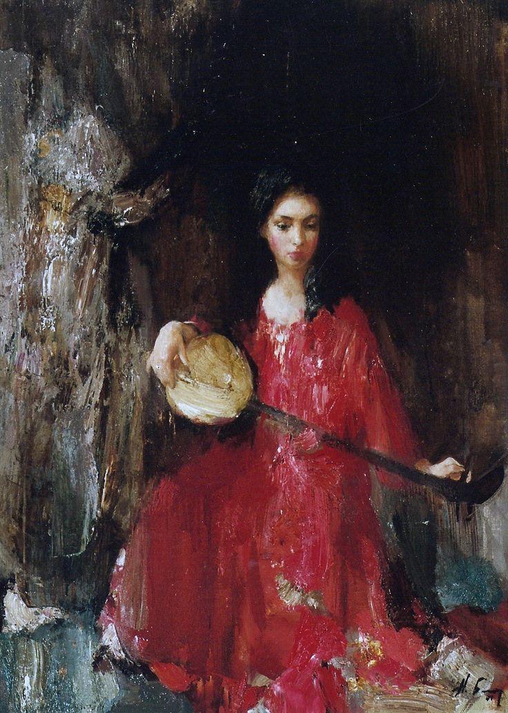 """Николай Блохин (Nikolai Blokhin), """"Girl with the Banjo"""".  Oh, I love this."""