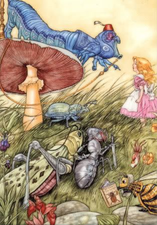 illustration: Doors, Angel, Rabbit Hole, Illustrations, Young Children, Alice In Wonderland, Insects, Lewis Carroll, Mushrooms