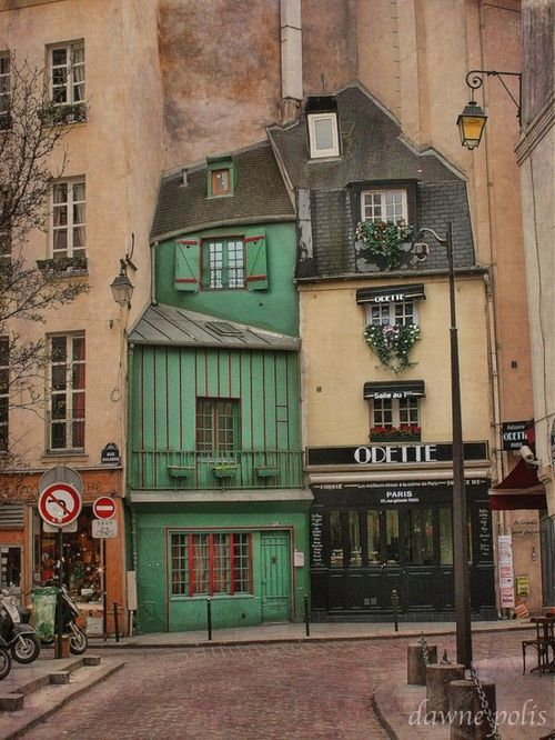 Paris, France- want to live in that tiny green house and feel like the Weasly family from Harry Potter!