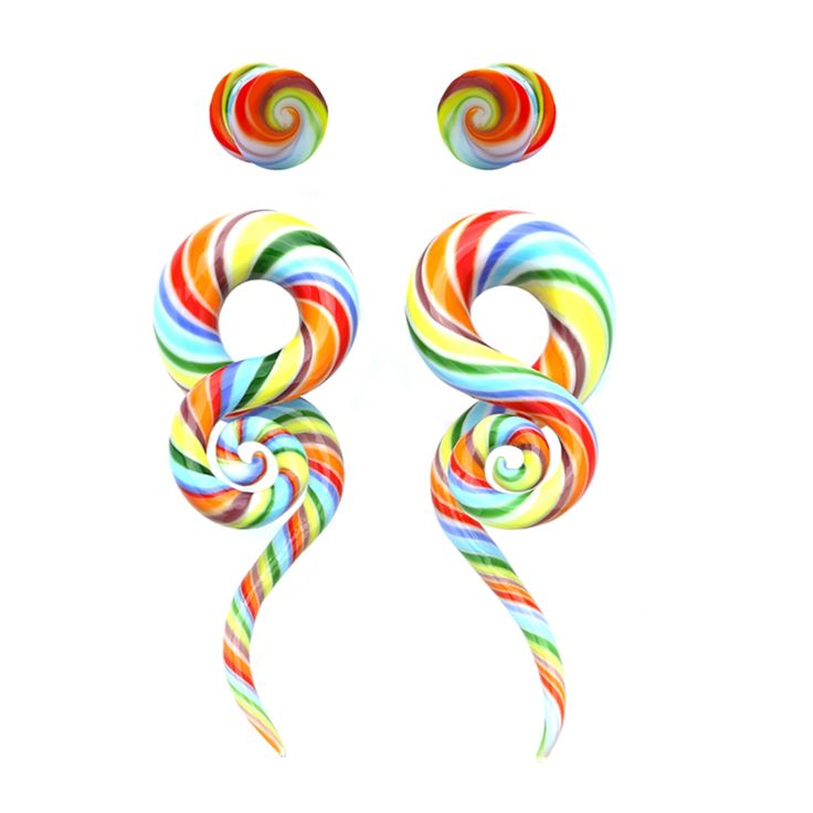 BodyJ4You® Glass Gauges Kit Twisted Ear Tapers Plugs Rainbow Swirl 4G-14mm Piercing Jewelry