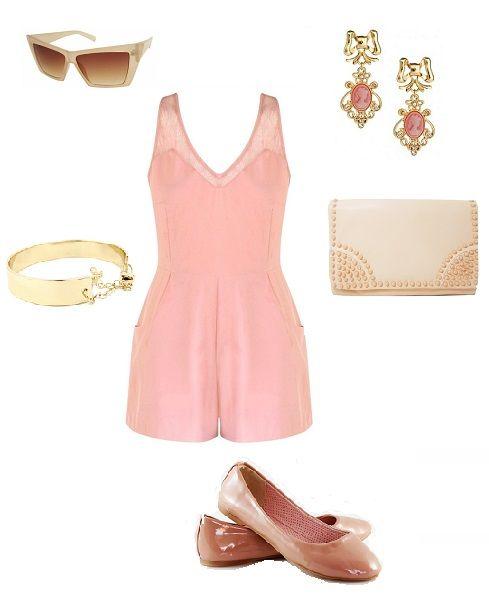glamour stylization, pink overalls, ballerinas, sunglasses, accessories, www.magazyn.modadamska.waw.pl
