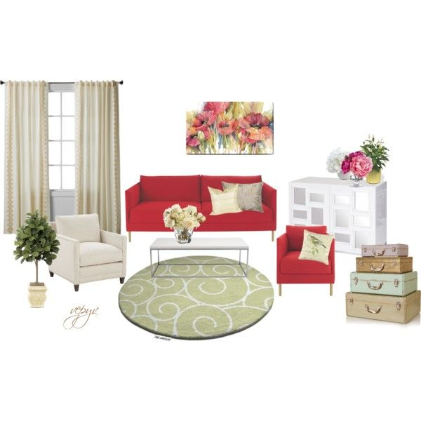 """Floral living room"" by viktoria-vepy on Polyvore"
