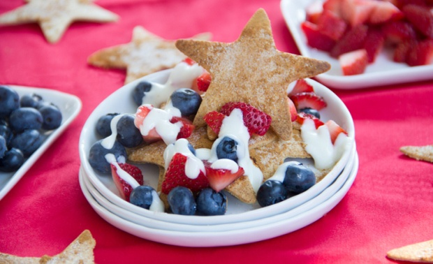 Celebrate the fact that it's both Election Day and National Nacho Day with these Red, White, and Blue Dessert Nachos with fresh berries and coconut cream from The Scrumptious Pumpkin blog! Pair it with a Woodchuck Crisp and enjoy!
