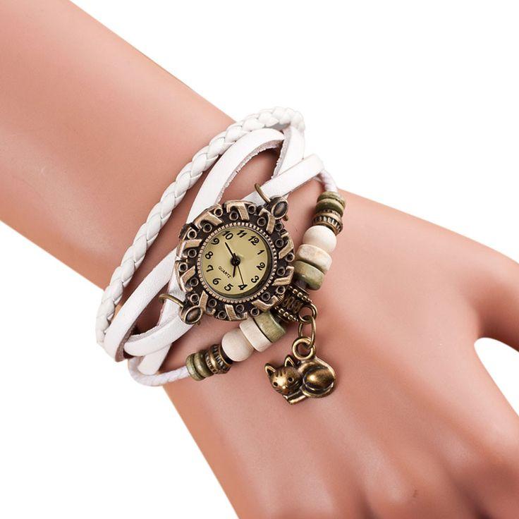 Aliexpress.com: Comprar Relojes de pulsera de Cuarzo Del Relogio Feminino 2016 Caliente Armadura Alrededor de LA PU Gato Pulseras de La Señora Woman Reloj de Cuero Vestido Reloj de watches sunglasses fiable proveedores en Rainbow International Trade Co.,LTD