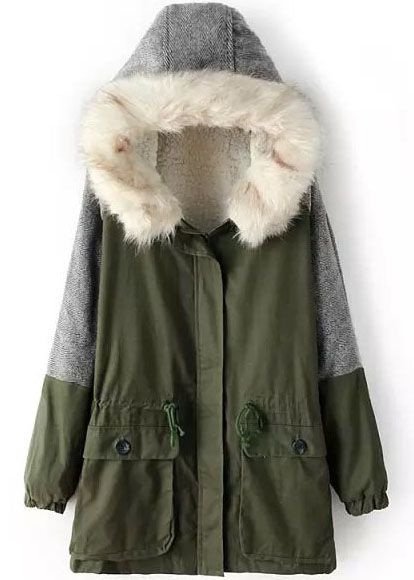 Green Hooded Long Sleeve Pockets Coat - abaday.com