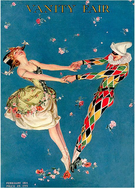 dance | Dancing in the streets Vanity Fair. Ballerina, harlequin, magazine cover, blue with flowers. February 1914