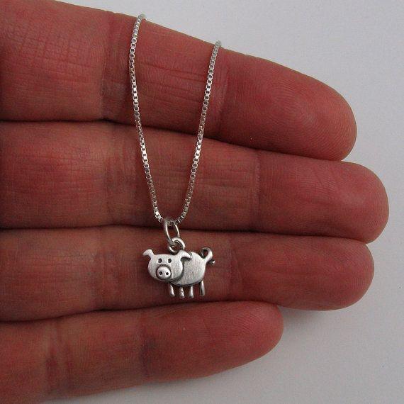 Pig necklace by StickManJewelry on Etsy, $28.00