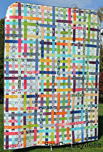 Simply Woven quilt pattern from moda bake shop.  Great way to use scraps.