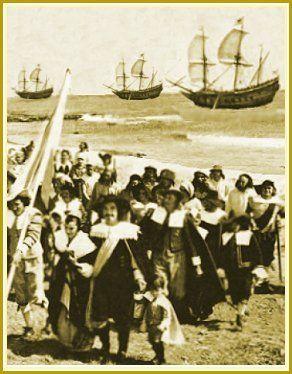 ''n Voorstelling van die landing van  die Van Riebeeck-geselskap op  6 April 1652 aan die Kaap. Die drie skepe in die vloot van vyf wat Tafelbaai eerste binnegevaar het,  lê op die agtergrond voor anker.