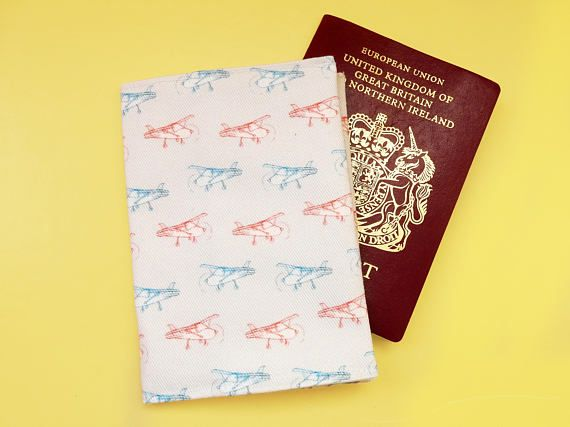 Aeroplane passport wallet  gift for a pilot  airplane