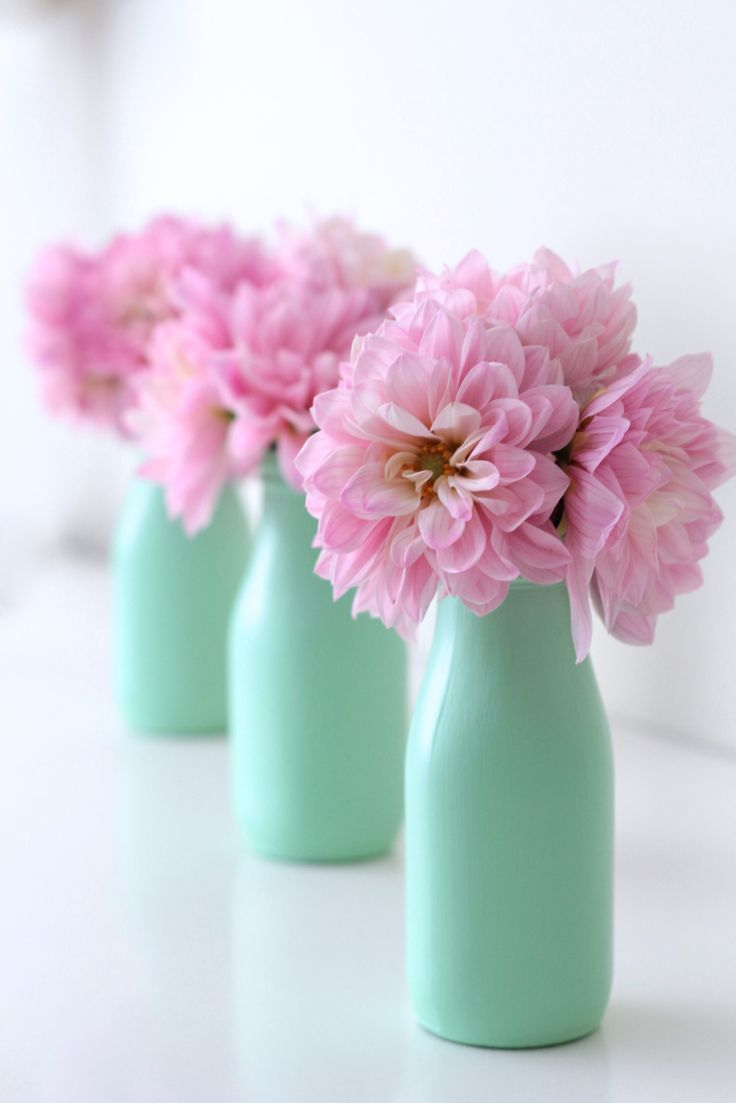 DIY - Pastel painted bottles I Adorned With Love But with yellow flowers