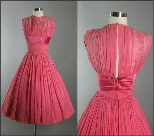 Vintage 50s Elegant Pink Chiffon Shelf Bust Bow Cocktail Party Dress