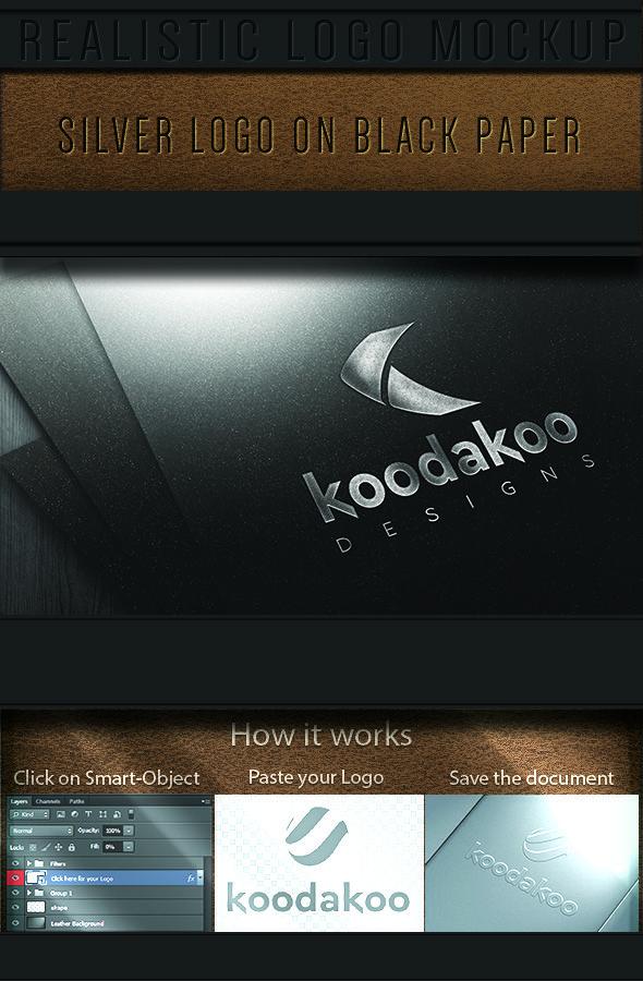 GraficAction | Silver Logo on Black Paper Mockup