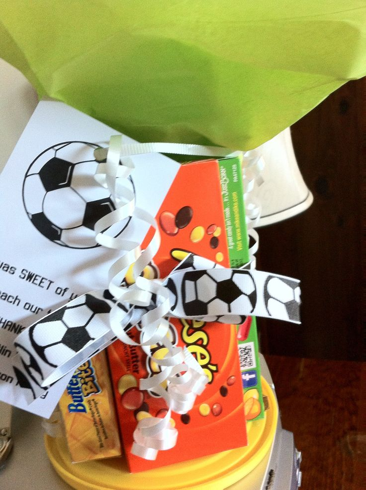 """Gift for soccer coach! Tag reads, """"It was SWEET of you to coach our team""""!"""