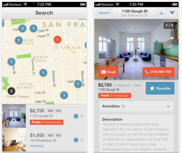 Lovely    Rental site Lovely launched an iOS app this week. The app lets you quickly see which rental properties are available near you, and helps you identify fresh listings.    You can make a list of Favorites and get notified when properties you're interested in are no longer available. If you find something you like, contact information and directions to the property are one tap away.