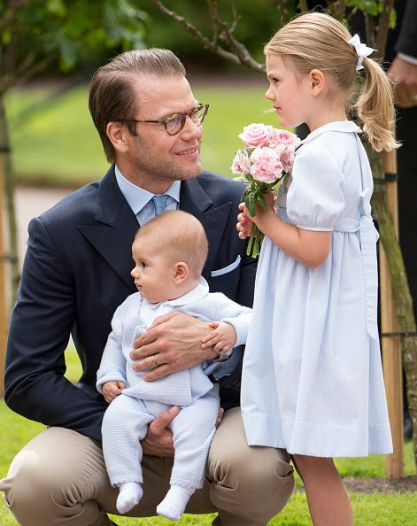 Prince Daniel Duke of Vastergotland with Princess Estelle of Sweden and Prince Oscar of Sweden at the 39th birthday celebrations for Crown Princess...