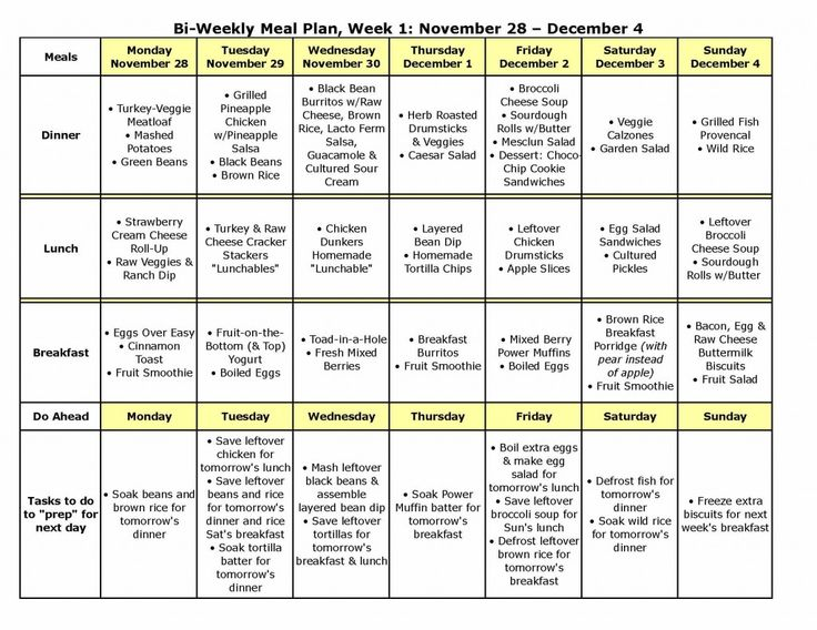 Bi-Weekly Meal Plan 9a